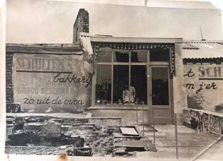 Emergency Shop of the bakery after the bombing. Since the bakery was largely built out of concrete, it has remained partially intact and quickly created an emergency store for the population.