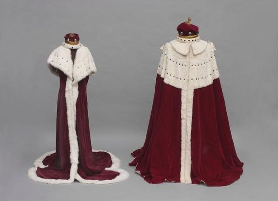 comprising-a-barons-coronet-crimson-silk-velvet-and-ermine-robe-two-pairs-of-silk-hose-together-with-lady-woodbridges-coronet-and-crimson-silk-velvet-and-ermine-robe