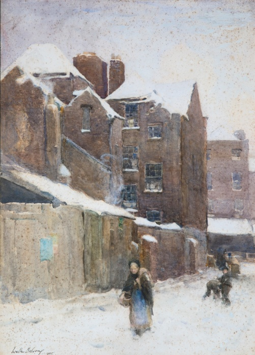 'A_Backstreet_in_the_Snow'_by_Walter_Osborne